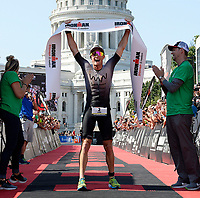 Australian Luke McKenzie wins the professional men's 2017 IRONMAN Wisconsin with a time of 8 hours, 17 minutes, and 19 seconds on Sunday, September 10 in Madison