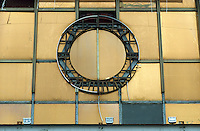 GDR German Democratic Republic , East Berlin, 2005, remains of GDR state coat of arms symbol without ears wreath, hammer and circle at Palace of the Republic, the former socialist parliament Volkskammer / DDR Deutsche Demokratische Republik, Ost-Berlin, Ueberreste des DDR Staatswappen OHNE Aehrenkranz Hammer und Zirkel am Palast der Republik der ehemaligen Volkskammer