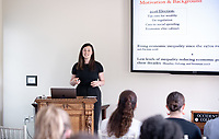 Claire Krelitz '19<br /> Students, faculty and staff gather on Thursday, May 2, 2019 in the JSC Morrison Lounge for the Sociology Senior Comps presentations, awards ceremony, and year-end celebration.<br /> (Photo by Marc Campos, Occidental College Photographer)