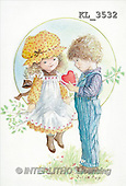 Interlitho, CHILDREN, nostalgic, paintings, 2 kids, heart(KL3532,#K#) Kinder, niños, nostalgisch, nostálgico, illustrations, pinturas