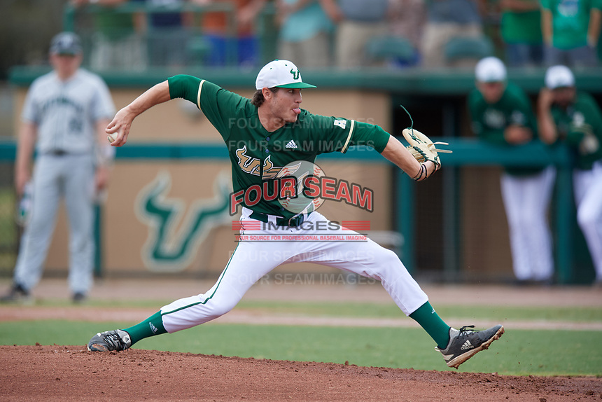 USF Bulls starting pitcher Ben Koff (47) delivers a pitch during a game against the Dartmouth Big Green on March 17, 2019 at USF Baseball Stadium in Tampa, Florida.  USF defeated Dartmouth 4-1.  (Mike Janes/Four Seam Images)