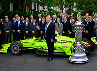 United States President Donald J. Trump makes remarks as he greets the 103rd Indianapolis 500 Champions: Team Penske, on the South Lawn of the White House in Washington, DC on Monday, June 10, 2019.  The President took some questions on trade, Mexico, and tariffs against China.<br /> CAP/MPI/RS<br /> ©RS/MPI/Capital Pictures
