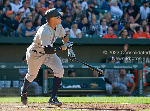 New York Yankees right fielder Aaron Judge (99) follows the flight of the ball after connecting for a game-tying home run in the eighth inning against the Baltimore Orioles at Oriole Park at Camden Yards in Baltimore, MD on Sunday, April 9, 2017.  The Yankees won the game 7 - 3. <br /> Credit: Ron Sachs / CNP<br /> (RESTRICTION: NO New York or New Jersey Newspapers or newspapers within a 75 mile radius of New York City)