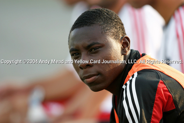 21 July 2004: Freddy Adu started the game on the bench. The Richmond Kickers of the A-League defeated DC United of Major League Soccer 2-1 at University of Richmond Stadium in Richmond, VA in a fourth round game in the 2004 Lamar Hunt U.S. Open Cup..