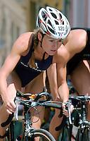 21 JUN  2003 - KARLOVY VARY, CZECH REPUBLIC - Delphine Pelletier (FRA) - European Triathlon Championships. (PHOTO (C) NIGEL FARROW)