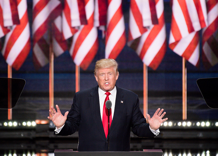 UNITED STATES - JULY 21: GOP nominee Donald Trump delivers his acceptance speech at the 2016 Republican National Convention in Cleveland, Ohio on Thursday July 21, 2016. (Photo By Bill Clark/CQ Roll Call)