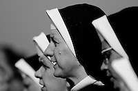 Czech nuns sing and pray during the open-air mass served by the Pope Benedict XVI in Stara Boleslav, one of the main pilgrimage site of the Czech Republic, September 28, 2009.