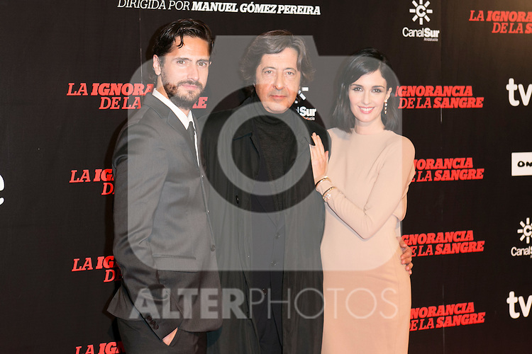 "Juan Diego Botto, Manuel Gomez Pereira and Paz Vega attends ""La Ignorancia de la Sangre"" Premiere at Capitol Cinema in Madrid, Spain. November 13, 2014. (ALTERPHOTOS/Carlos Dafonte)"