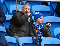 4th January 2020; Cardiff City Stadium, Cardiff, Glamorgan, Wales; English FA Cup Football, Cardiff City versus Carlisle; Carlisle United fans watch they're side warm up - Strictly Editorial Use Only. No use with unauthorized audio, video, data, fixture lists, club/league logos or 'live' services. Online in-match use limited to 120 images, no video emulation. No use in betting, games or single club/league/player publications