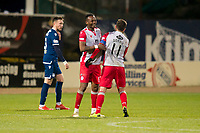 30th November 2019; Dens Park, Dundee, Scotland; Scottish Championship Football, Dundee Football Club versus Queen of the South; Stephen Dobbie of Queen of the South is congratulated at full time by Abdul Osman  - Editorial Use
