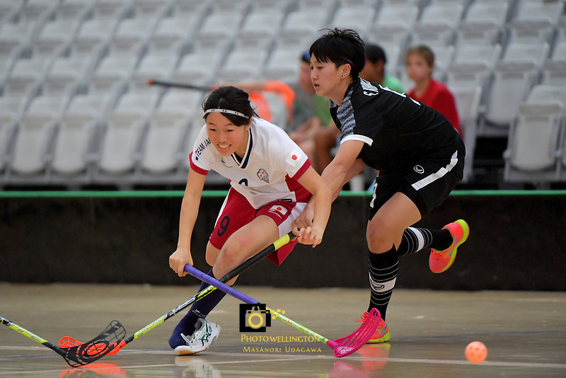 Japan's Eriko Chiba and Thailand's Sukanya Ritngam in action during the World Floorball Championships 2017 Qualification for Asia Oceania Region - Japan v Thailand at ASB Sports Centre , Wellington, New Zealand on Saturday 4 February 2017.<br /> Photo by Masanori Udagawa<br /> www.photowellington.photoshelter.com.