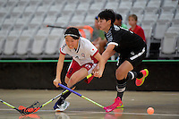 Japan&rsquo;s Eriko Chiba and Thailand&rsquo;s Sukanya Ritngam in action during the World Floorball Championships 2017 Qualification for Asia Oceania Region - Japan v Thailand at ASB Sports Centre , Wellington, New Zealand on Saturday 4 February 2017.<br /> Photo by Masanori Udagawa<br /> www.photowellington.photoshelter.com.