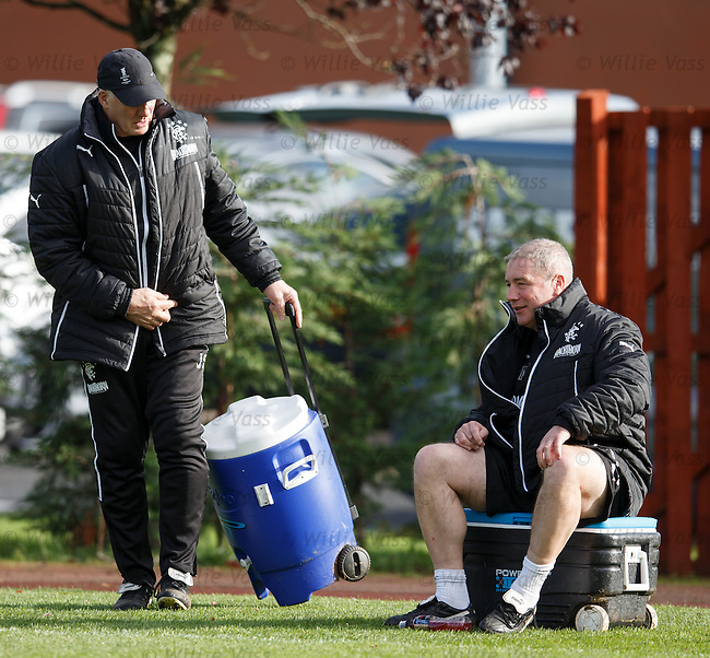 Jim Stewart and Ally McCoist at training