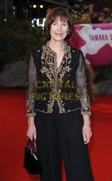 "POSY SIMMONDS .The UK Premiere of ""Tamara Drewe"", Odeon Leicester Square, London..September 6th, 2010.half length sheer top jacket trousers bag purse black gold embroidered embroidery sheer sleeves 3/4.CAP/BEL.©Tom Belcher/Capital Pictures."
