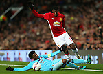 Paul Pogba of Manchester United takes on Miguel Nelom of Feyenoord during the UEFA Europa League match at Old Trafford, Manchester. Picture date: November 24th 2016. Pic Matt McNulty/Sportimage