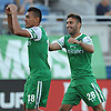 Juan Arango No. 18 of the New York Cosmos, left, gets congratulated by teammate No. 28 Jimmy Mulligan after scoring a goal to tie the score against the Carolina RailHawks at 1-1 in the first half of an NASL match at Hoftra University on Saturday, Aug. 27, 2016. Arango scored the first two Cosmos goals and was named Man of the Match in the club's 6-1 win.