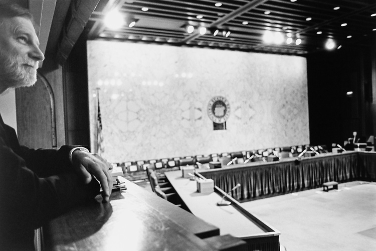 Paul Clark, Senate Government Affairs Commission Spokesperson, looks out over 219 Hart Hearing Room, where his boss Sen. Thompson is holding Campaign Finance Hearing in July 1997. (Photo by Maureen Keating/CQ Roll Call via Getty Images)