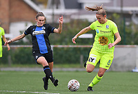 20191123 – BRUGGE, BELGIUM : Brugge's Emma Van Britsom pictured with Gent's Lenie Onzia (r) during a women soccer game between Dames Club Brugge and K AA Gent Ladies on the ninth matchday of the Belgian Superleague season 2019-2020 , the Belgian women's football  top division , saturday 23 th November 2019 at the Jan Breydelstadium – terrain 4  in Brugge  , Belgium  .  PHOTO SPORTPIX.BE | DAVID CATRY