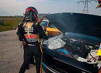 Jun 2, 2018; Joliet, IL, USA; NHRA top fuel driver Leah Pritchett during qualifying for the Route 66 Nationals at Route 66 Raceway. Mandatory Credit: Mark J. Rebilas-USA TODAY Sports