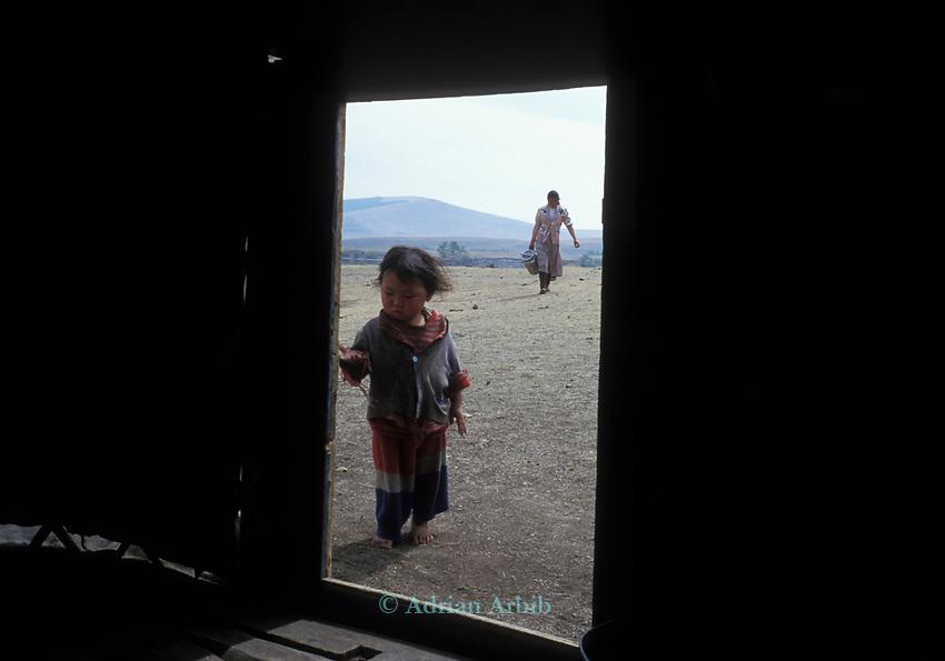A mongolain Yurt ( ger) on  Tsataan Uul lake,   Outer Mongolia.  Tsataan Uul.