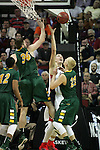 Gonzaga's Kyle Wiltjer (33) has his shot blocked by North Dakota State's Chris Kading (34) during the 2015 NCAA Division I Men's Basketball Championship's March 20, 2015 at the Key Arena in Seattle, Washington.   ©2015. Jim Bryant Photo. ALL RIGHTS RESERVED.
