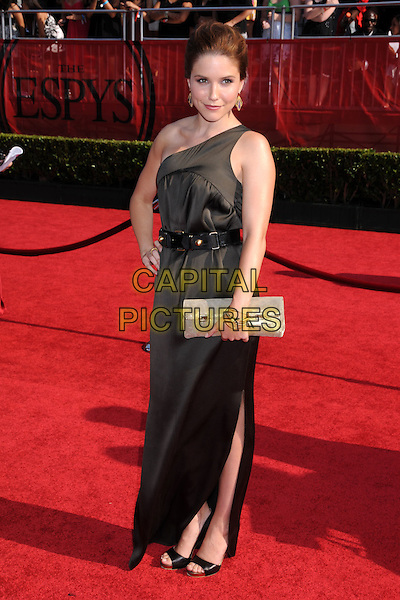 SOPHIA BUSH.ESPY Awards 2008 - Arrivals at the Nokia Theatre LA Live, Los Angeles, California, USA..July 16th, 2008.full length black brown one shoulder dress belt clutch bag purse .CAP/ADM/BP.©Byron Purvis/AdMedia/Capital Pictures.