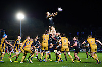Charlie Ewels of Bath Rugby rises high to win lineout ball. European Rugby Challenge Cup match, between Bath Rugby and Bristol Rugby on October 20, 2016 at the Recreation Ground in Bath, England. Photo by: Patrick Khachfe / Onside Images