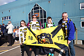 24th March 2018, McDiarmid Park, Perth, Scotland; Scottish Football Challenge Cup Final, Dumbarton versus Inverness Caledonian Thistle; Dumbarton fans get ready for the match