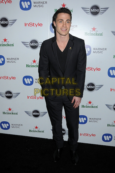Colton Haynes.Warner Music Group 2013 Grammy Celebration held at The Chateau Marmont, West Hollywood, California, USA..February 10th, 2013.full length suit black.CAP/ADM/BP.©Byron Purvis/AdMedia/Capital Pictures.