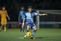 Paris Cowan-Hall of Wycombe Wanderers scores his goal during the Sky Bet League 2 match between Wycombe Wanderers and Newport County at Adams Park, High Wycombe, England on 2 January 2017. Photo by Andy Rowland.