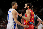 Ricky Rubio of Spain and Dagoberto Pena of Dominican Republic during the Friendly match between Spain and Dominican Republic at WiZink Center in Madrid, Spain. August 22, 2019. (ALTERPHOTOS/A. Perez Meca)