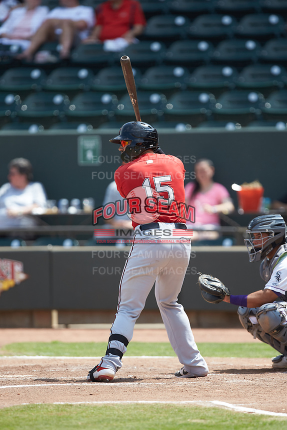 Payton Henry (15) of the Carolina Mudcats at bat against the Winston-Salem Dash at BB&T Ballpark on August 4, 2019 in Winston-Salem, North Carolina. The Dash defeated the Mudcats 7-5. (Brian Westerholt/Four Seam Images)