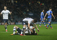 Preston North End's Alan Browne celebrates scoring his sides third goal <br /> <br /> Photographer Mick Walker/CameraSport<br /> <br /> The EFL Sky Bet Championship - Preston North End v Leeds United - Tuesday 10th April 2018 - Deepdale Stadium - Preston<br /> <br /> World Copyright &copy; 2018 CameraSport. All rights reserved. 43 Linden Ave. Countesthorpe. Leicester. England. LE8 5PG - Tel: +44 (0) 116 277 4147 - admin@camerasport.com - www.camerasport.com
