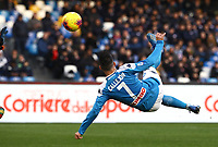 9th February 2020; Stadio San Paolo, Naples, Campania, Italy; Serie A Football, Napoli versus Lecce; Jose Maria Callejon of Napoli with a scissor kick shot and scores his goal for 2-3 in the 90th minute