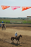 Participants in the arena during the Mexican rodeo Charros del Norte in Lowell, Indiana on July 27, 2008.
