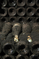 Bottles aging in the cellar. Domaine Huet, Vouvray, Touraine, Loire, France