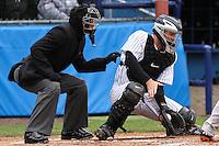 Scranton/Wilkes-Barre Yankees catcher Craig Tatum makes a save in the third inning at Dwyer Stadium  in Batavia, New York on April 22, 2012.
