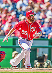 7 September 2014: Washington Nationals first baseman Adam LaRoche hits a solo home run against the Philadelphia Phillies at Nationals Park in Washington, DC. The Nationals defeated the Phillies 3-2 to salvage the final game of their 3-game series. Mandatory Credit: Ed Wolfstein Photo *** RAW (NEF) Image File Available ***