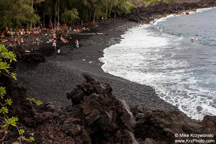 Hippies congregating on Sunday afternoon at Kehena Beach, Pahoa, Big Island, Hawaii