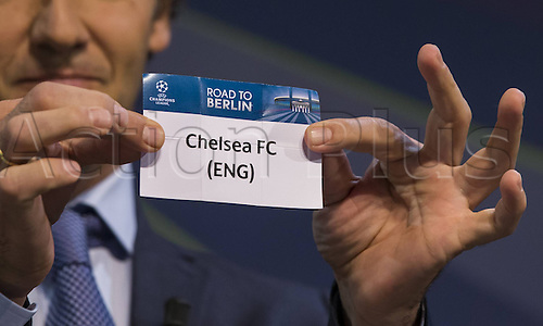 15.12.2014. Nyon, Switzerland. UEFA Champions League 2nd round draw.  Das Ldes Chelsea FC (ENG) is pulled from the pot