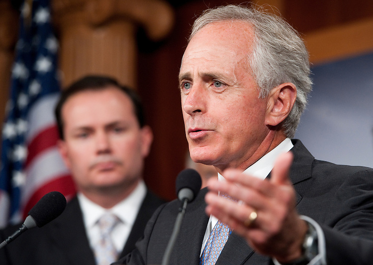 UNITED STATES - JULY 21: Sen. Bob Corker, R-Tenn., speaks during the Senate and House Republicans' news conference to call on the Senate to pass the cut, cap and balance bill on July 21, 2011. (Photo By Bill Clark/Roll Call)