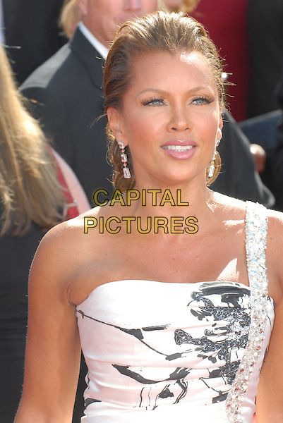 VANESSA WILLIAMS .60th Annual Primetime Emmy Awards held at the Nokia Theatre, Los Angeles, California, USA..September 21st, 2008.half length white jewel encrusted halterneck black pattern one shoulder .CAP/ADM/CH.©Charles Harris/AdMedia/Capital Pictures