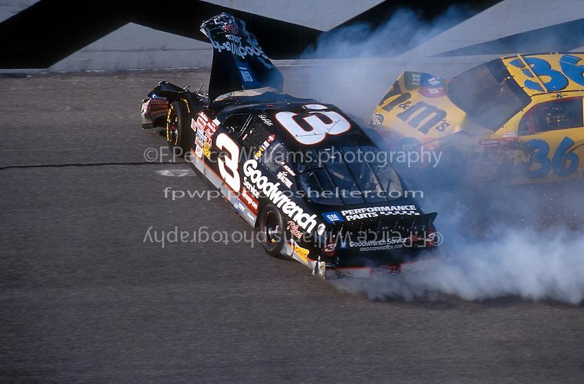 Dale Earnhardt Crash Frame 3.NASCAR Winston Cup Daytona 500 18 Feb.2001 Daytona International Speedway, Daytona Beach,Florida,USA .© F. Peirce Williams .photography 2001...F.Peirce Williams Photography.P.Box 455 Eaton, OH 45320.317.358.7326  fpwp@mac.com