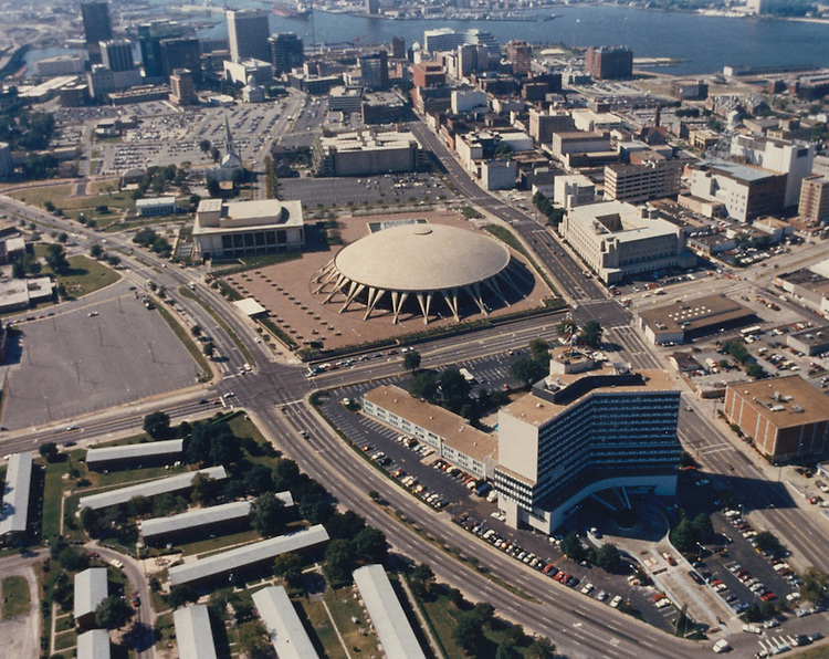 UNDATED..Redevelopment.Downtown North (R-8)..Aerial view looking South at Downtown.Norfolk Scope in foreground...NEG#.NRHA#..
