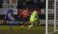 Danny Hylton of Luton Town opens the scoring during the Sky Bet League 2 match between Luton Town and Hartlepool United at Kenilworth Road, Luton, England on 14 March 2017. Photo by Liam Smith.