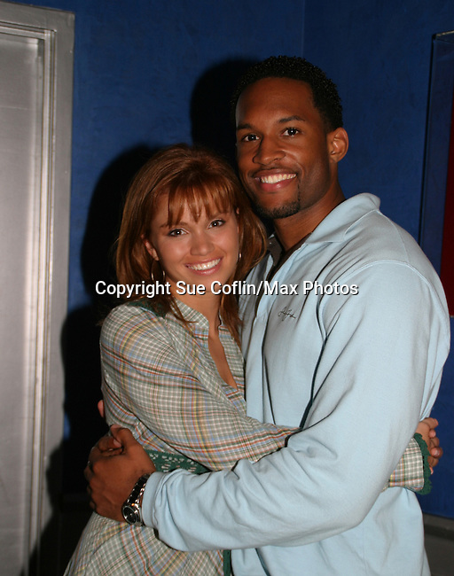 "Lawrence Saint-Victor poses with Guiding Light's Mandy Bruno ""Marina Cooper"" who celebrated her birthday at Planet Hollywood, NYC by throwing for her friends and castmates a party on Sept. 23, 2006. Her birthday was on the 20th of Sept.  (Photo by Sue Coflin/Max Photos)"