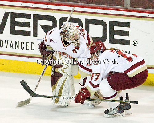Molly Schaus (BC - 30), Danielle Welch (BC - 17) - The Boston College Eagles defeated the Boston University Terriers 2-1 in the opening round of the Beanpot on Tuesday, February 8, 2011, at Conte Forum in Chestnut Hill, Massachusetts.