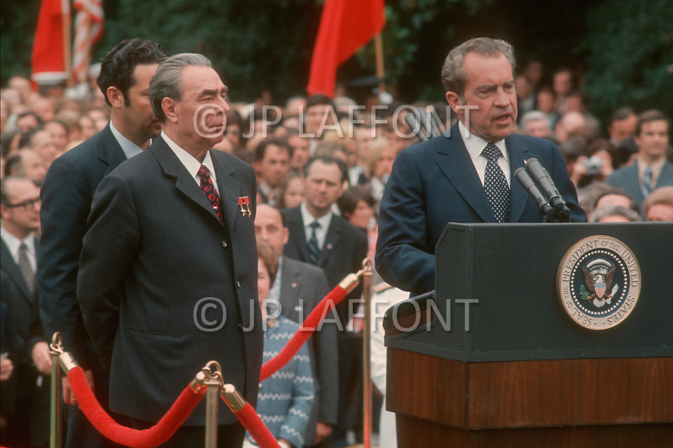 Washington, D.C - June 18, 1973. General Secretary of the Communist Party of the Soviet Union Leonid Brezhnev is welcomed at the White House by American President Richard Nixon.