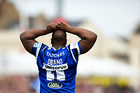 Beno Obano of Bath Rugby looks on. Gallagher Premiership match, between Gloucester Rugby and Bath Rugby on April 13, 2019 at Kingsholm Stadium in Gloucester, England. Photo by: Patrick Khachfe / Onside Images