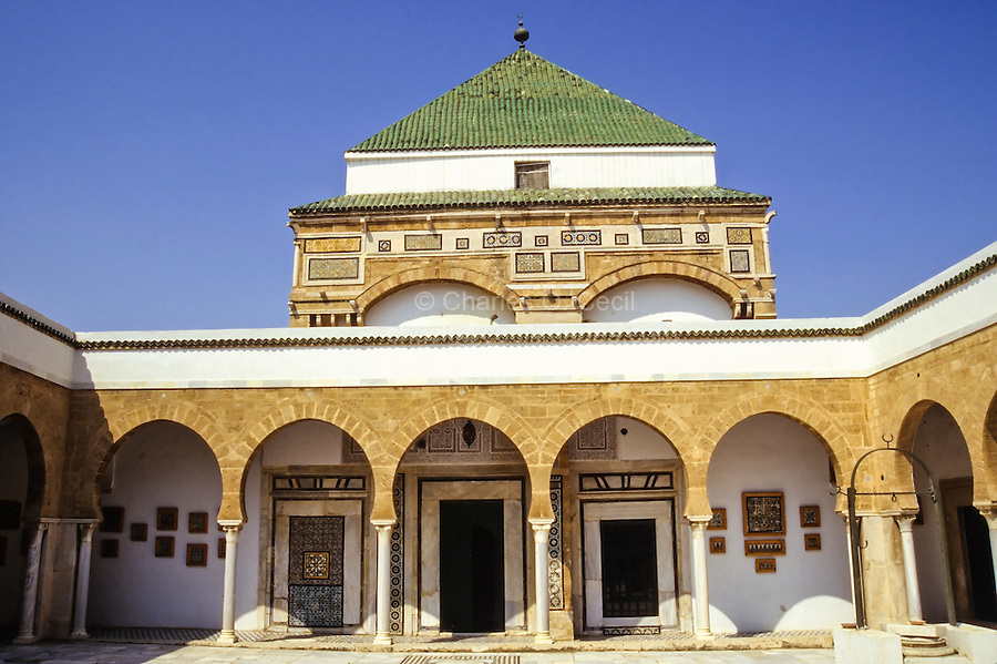Tunis, Tunisia.  Zawiya of Sidi Kacem Al-Jalizi, 17th-18th. Century, restored 20th. Century.  Sidi Kacem, died 1496, is Tunisia's most famous ceramic artist.